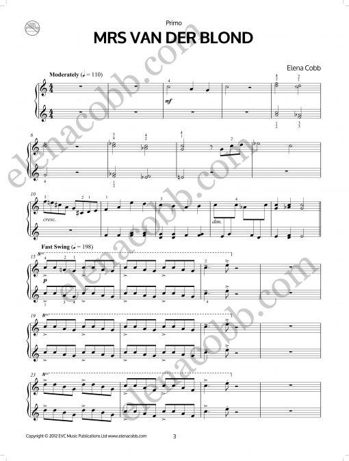 Mrs Van Der Blond Elena Cobb piano duet EVC Music