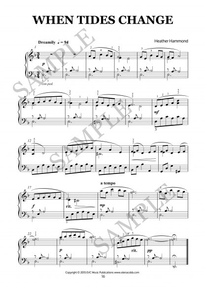 When Tides Changes for piano by Heather Hammond