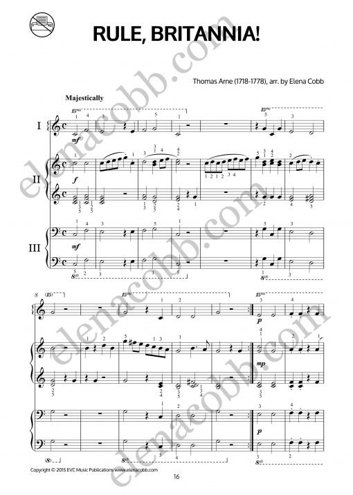 Rule Britannia piano trio arr Elena Cobb