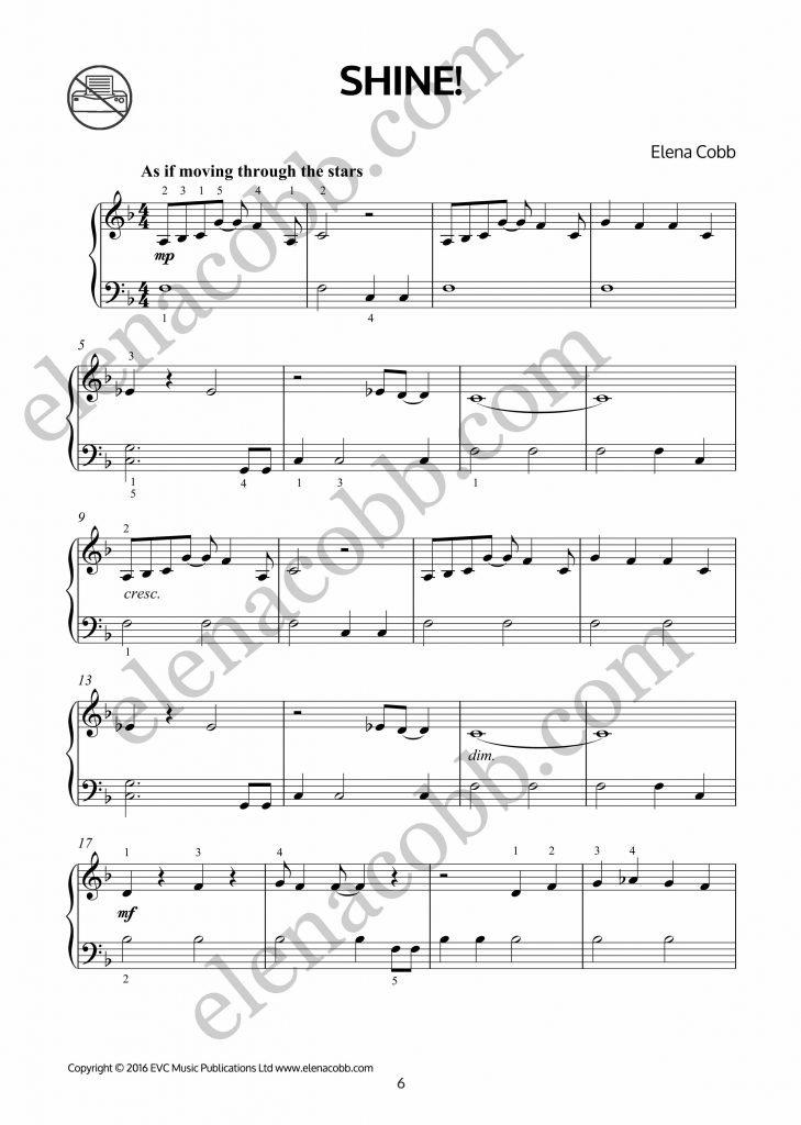 Shine for piano by Elena Cobb p1
