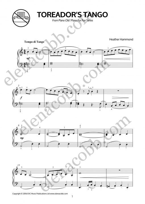 FRONT Piano Olé for piano by Heather Hammond
