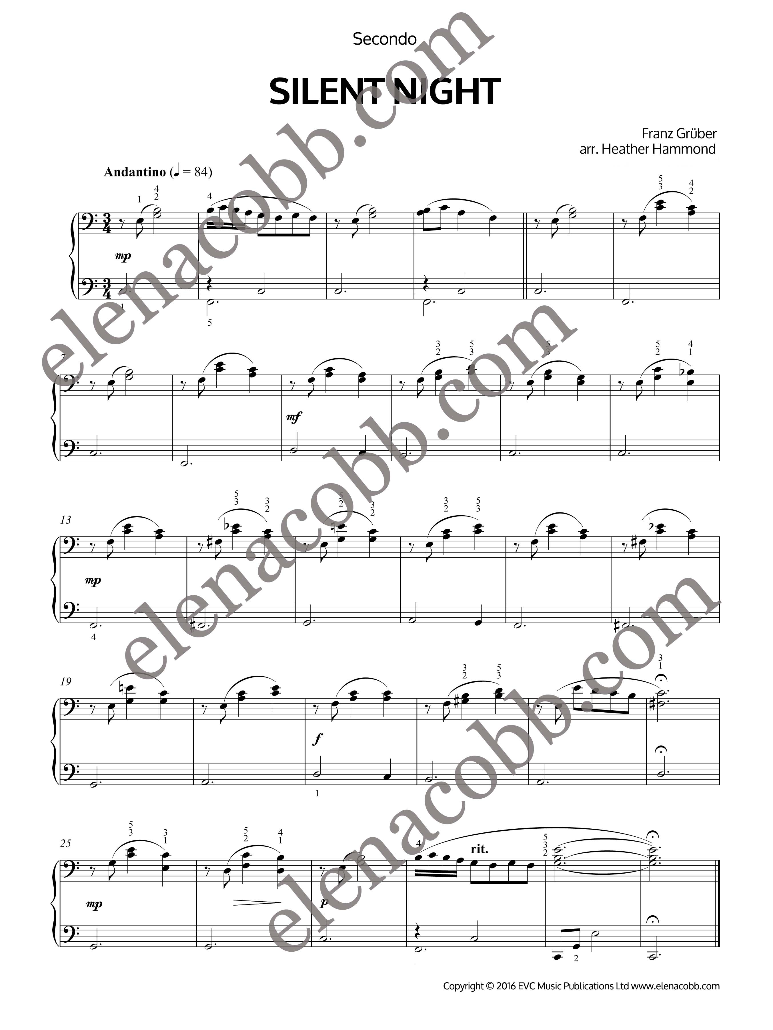 Silent night easy piano duet with cool jazz chords by heather hammond silent night easy piano duet heather hammond hexwebz Image collections