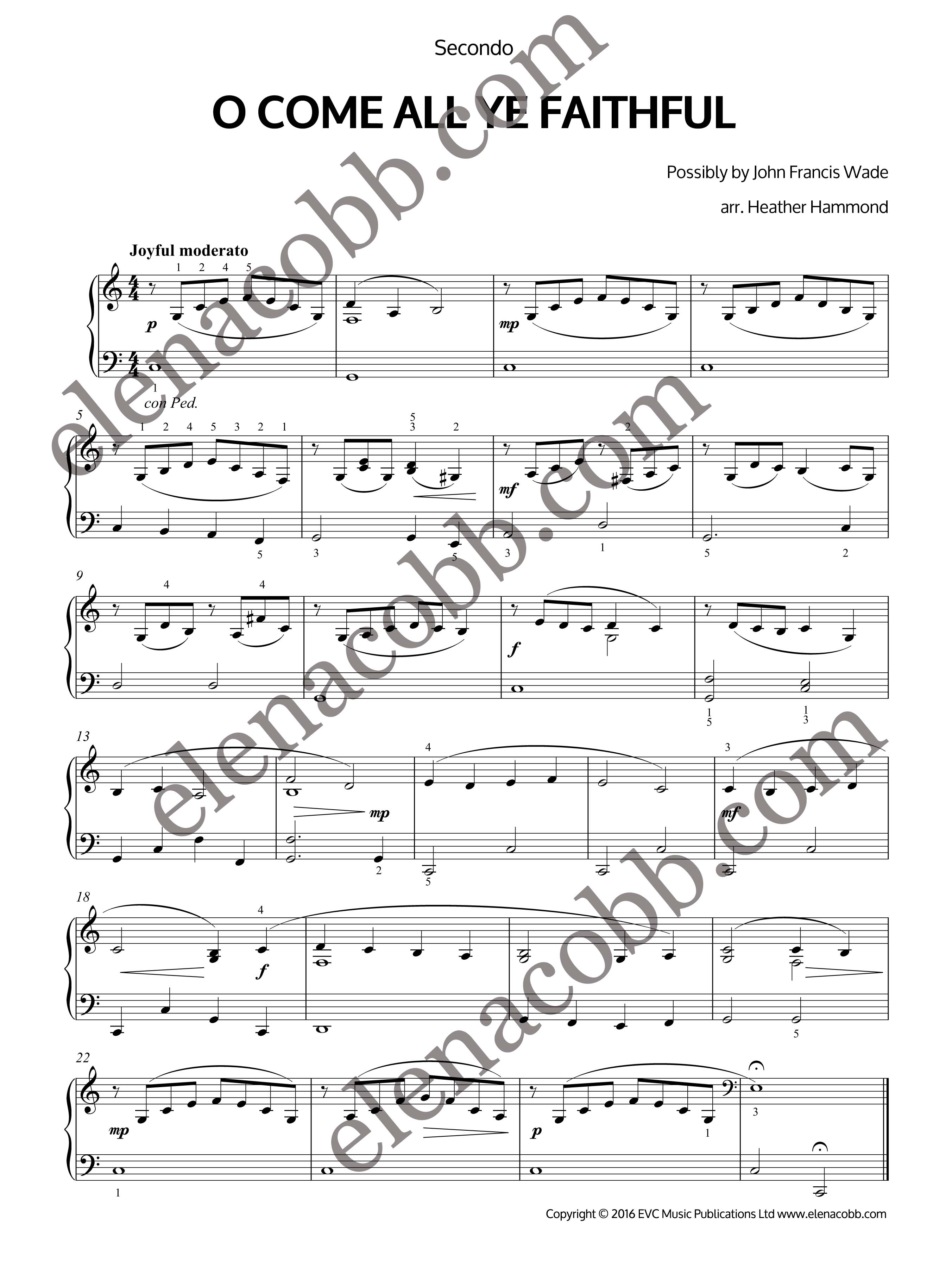O come all ye faithful easy piano duet by heather hammond o come all yy faithful piano duet heather hammond hexwebz Image collections