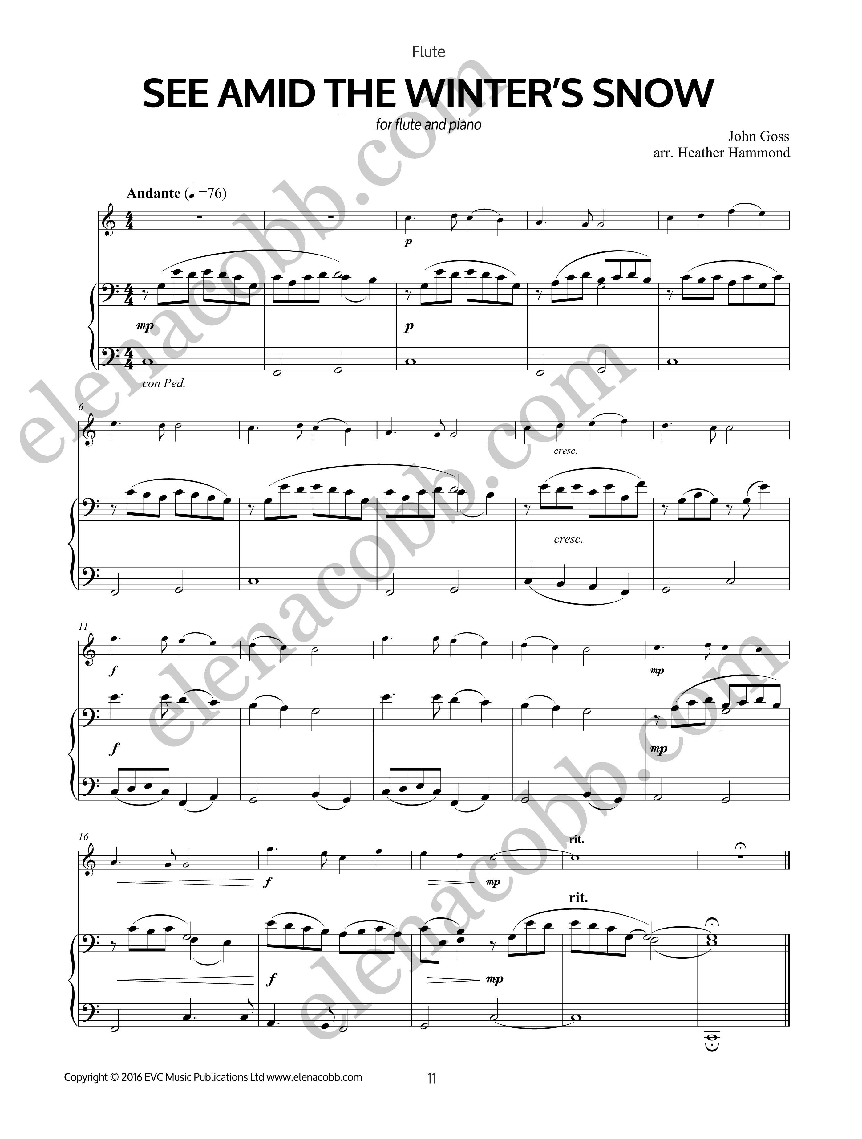 Four Christmas Carols Arr H Hammond Easy Flute