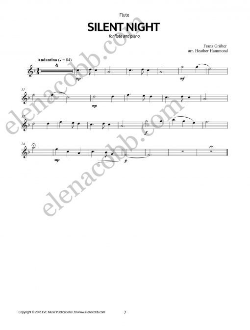 Silent Night Flute arr H Hammond EVC Music