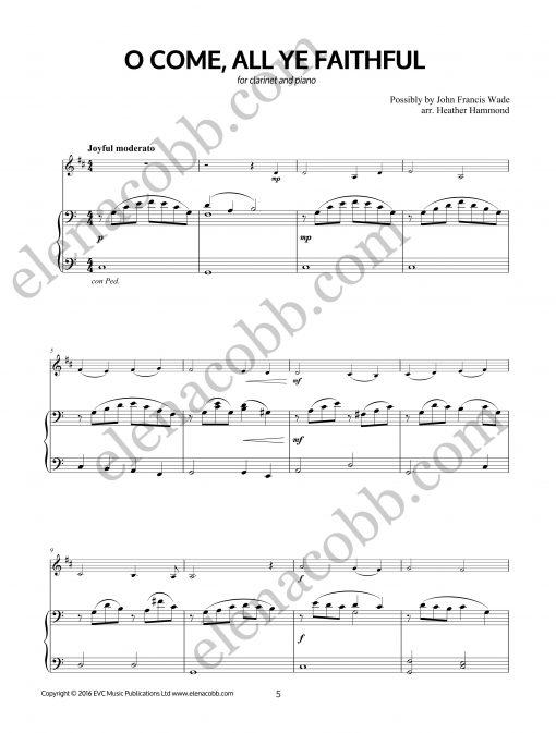 O Come All Ye Faithfull Clarinet arr H Hammond Piano part