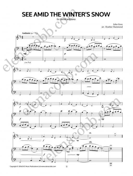 See Amid The Winter Snow Clarinet arr H Hammond piano part
