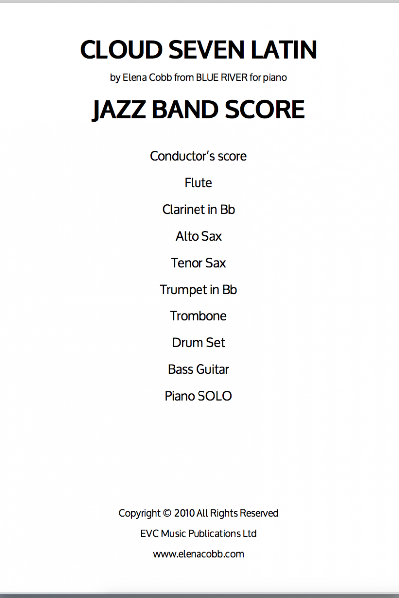 Cloud Seven Latin by Elena Cobb Jazz Band Score