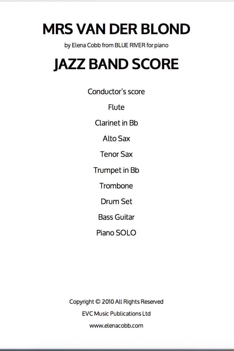 Mrs Van Der Blond E Cobb Jazz Band Score