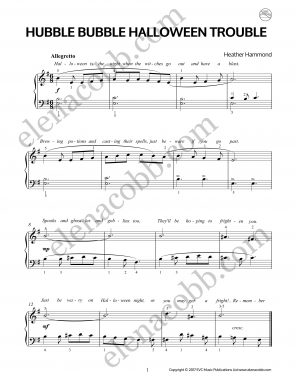 Hubble Bubble Halloween Trouble for Piano by Heather Hammond