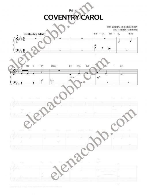 Coventry Carol piano duet Heather Hammond Primo