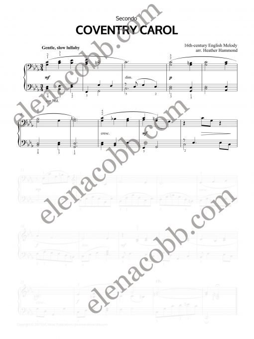 Coventry Carol piano duet Heather Hammond Secondo