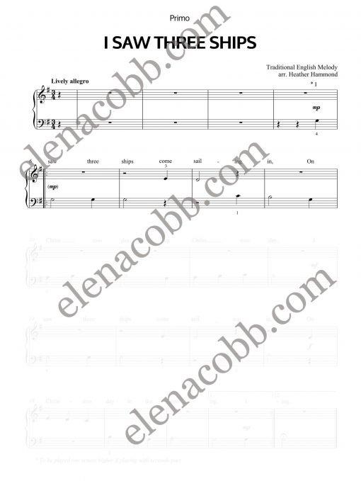 I Saw Three Ships piano duet Heather Hammond Primo EVC Music