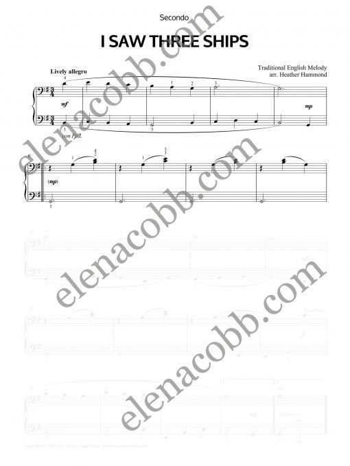 I Saw Three Ships piano duet Heather Hammond Secondo EVC Music