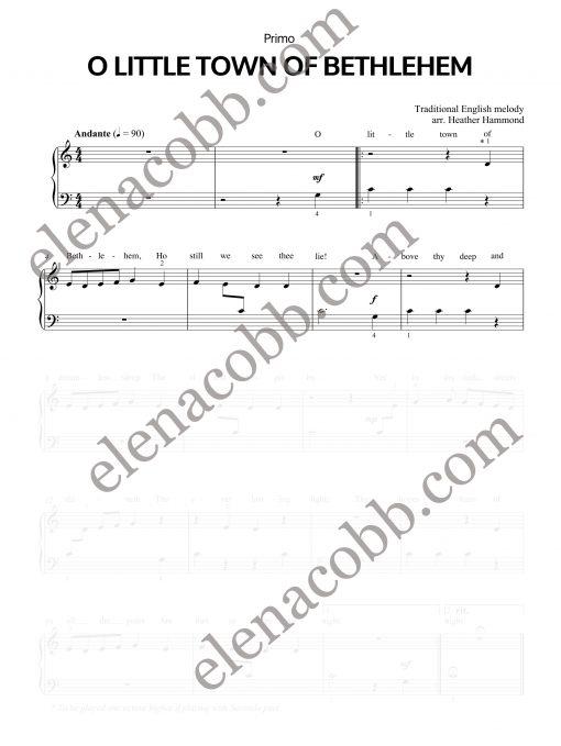 O Little Town of Bethlehem piano duet Heather Hammond Primo EVC Music