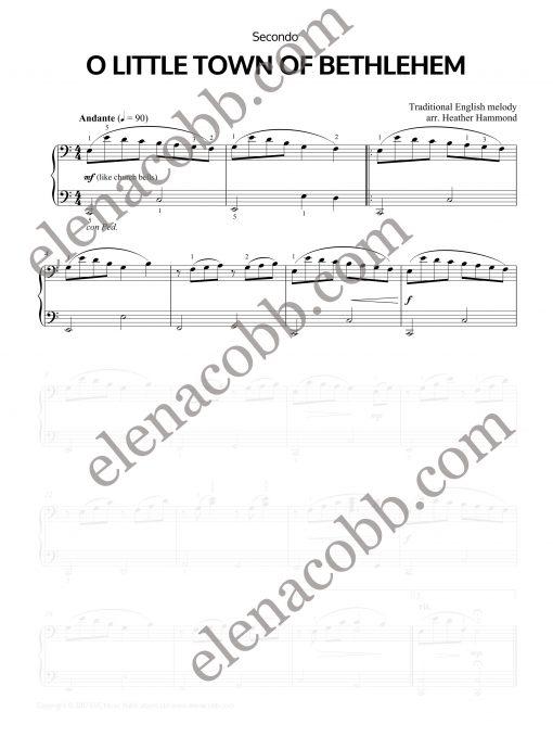 O Little Town of Bethlehem piano duet Heather Hammond Secondo EVC Music