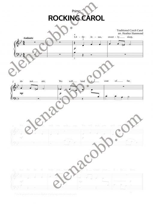 Rocking Carol Piano Duet H.Hammond Primo