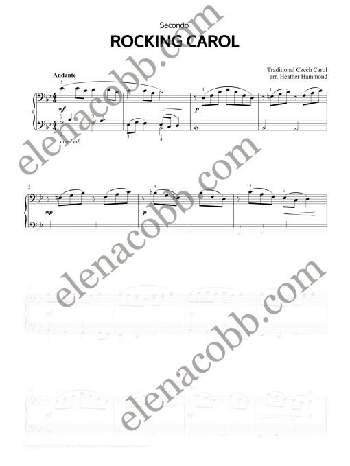 Rocking Carol Piano Duet H.Hammond Secondo